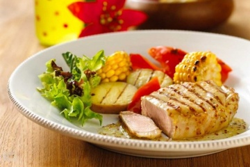 Grilled Pork Loin Steak with Apple Mustard & Mint